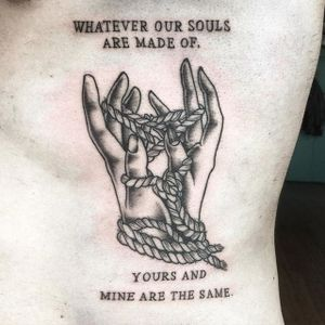 Blackwork tattoo by Tanya Swemmer. #quote #inspirational #inspirationalquote #motivation #meaning #meaningful #script #sayings #blackwork #hands