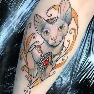 Neotraditional cat by Miss Juliet #MissJuliet #color #neotraditional #cat #tattoooftheday