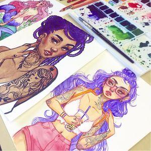 Artist Jaqueline Deleon #jacquelindeleon #fineartist #illustration #tattoodobabes
