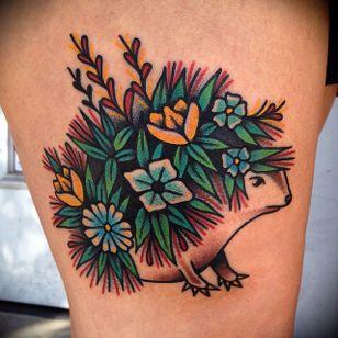 Hedgehog tattoo, artist unknown. #hedgehog #animal #flower #traditional