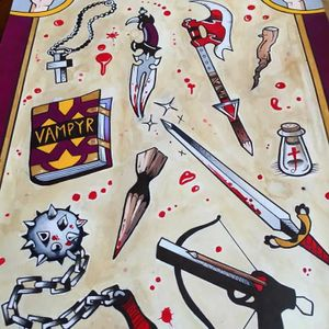 Buffy the Vampire flash, by Galen Bryce (via IG—tattooer_galenbryce) #GalenBryce #HustlersParlor #Brooklyn #Cartoon #Illustrative