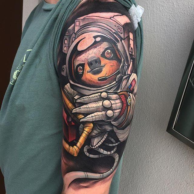 Astronaut Sloth Tattoo by Eddie Stacey #sloth #slothtattoo #slothtattoos #slothdesign #funtattoos #EddieStacey