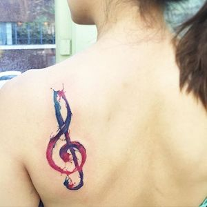 G clef tattoo by June Jung. #watercolor #brushstroke #music #clef #gclef #JuneJung