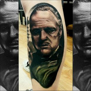 Godfather Tattoo by Christopher Bettley #Godfather #Portrait #PortraitTattoos #ColorPortraits #PortraitRealism #ChristopherBettley