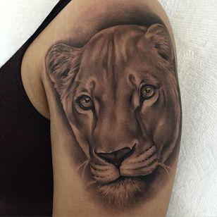 Beautiful black and grey lioness tattoo by Jamie Mahood. #blackandgrey #realism #JamieMahood #lion #lioness #bigcat #feline
