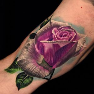 Rose tattoo by Phil Garcia #PhilGarcia #whiteinktattoo #color #realism #realistic #hyperrealism #rose #flower #floral #leaves #nature #dew #water #teardrop #petals #tattoooftheday