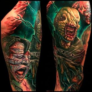 This tattoo by Julian Siebert has captured awesome movement in the colors and expressions #hellraiser #CliveBarker #cenobite #horror #movie #realism #colorwork #JulianSiebert #chatterer #drchannard #julia