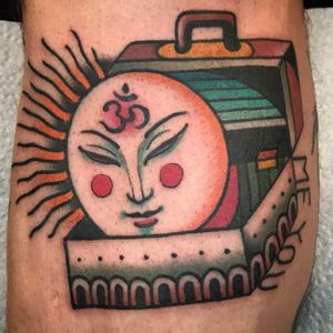 What is within. Tattoo by Kelu #Kelu #favoritetattoo #color #surreal #traditional #newschool #mashup #strange #suitcase #moon #om #symbol #light #travel #text #travel #love