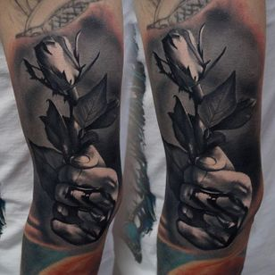 Hand holding a rose by James Artink. #hand #flower #rose #realism #blackandgrey #JamesArtink