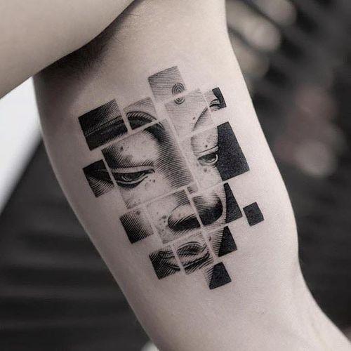 Buddha tattoo by Balazs Bercsenyi #BalazsBercsenyi #buddhainspiredtattoos #buddhatattoo #buddhaportrait