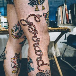 Gerrard rope tattoo by Woohyun Heo #WoohyunHeo #rope #traditional #lettering #Gerrard #Liverpool (Photo: Instagram)