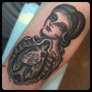 Lady Tattoo by Marie Sena #Mariesena #Electriceye #Dallas #Texas #Black #Traditional #Lady #Girl #Guts #blackwork