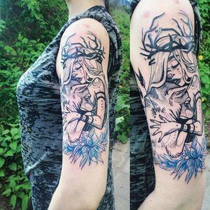 Wolf and girl tattoo by Fukari. #Fuki #Fukari #JudytaAnnaMurawska #wolf