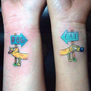 Catdog tattoo by Jopie Lee. #catdog #nickelodeon #cat #dog #cartoon #matching