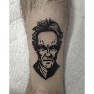 Clint Eastwood Tattoo by Joel Menazzi #Blackwork #portrait #ClintEastwood #Actor #BlackworkPortrait #PopCulture #JoelMenazzi