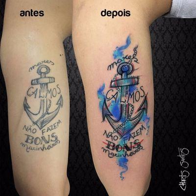Restauração de Chris Santos. #ChrisSantos #ancoras #anchor #tatuadoresdobrasil #aquarela #watercolor #caligrafia #lettering #corda #rope
