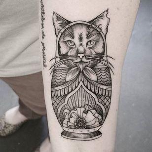 #CuttyBage #gringa #blackwork #sketch #pontilhismo #dotwork #gato #cat #catlover #pet #petlover #matryoshka