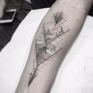 The elements we love by William Marin #WilliamMarin #blackwork #linework #abstract #illustrative #fineline #arrow #dotwork #mountains #ocean #wave #triangle #landscape #nature #tattoooftheday