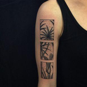 Foliage Tattoo by Richard Warnock @RichardWarnockTattoo #RichardWarnockTattoo #Black #Blackwork #Illustrative #Scenery #SceneryTattoo #Rectangular #Foliage