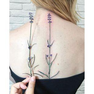 Garden-inspired tattoo by Rit Kit. #RitKit #flower #garden #plant #realistic #hyperrealism #lavender