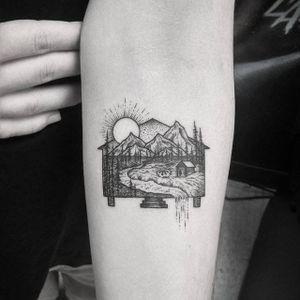 The most tender little cabin within a cabin, by Thomas Eckeard (via IG—thomasetattoos) #dotwork #pointillism #blacktattoo #thomaseckeard #nature #natureinspired