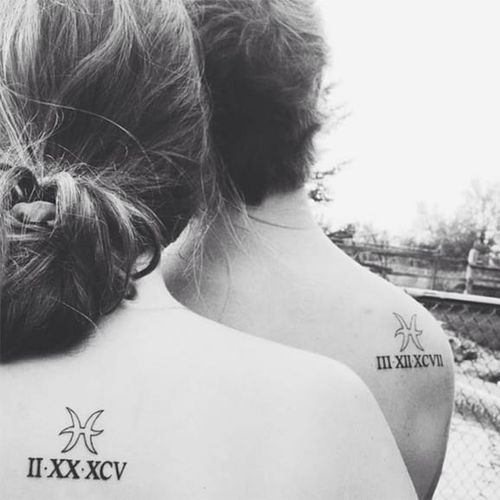 Same astrological sign different birth dates #siblingtattoo #brother #sister #astrologicalsign #matchingtattoos