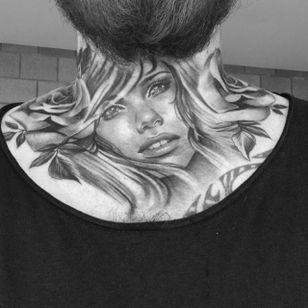 Woman throat tattoo by Karlee Sabrina. #realism #blackandgrey #throattattoo #woman #flower #KarleeSabrina