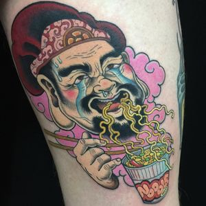 Tattoo by Wendy Pham #WendyPham #TaikoGallery #WenRamen #newtraditional #color #Japanese #mashup #noodlecup #ramen #noodles #portrait #hat #cloud #foodtattoo #tears #love