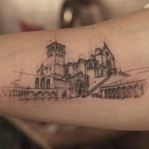 Graphic tattoo made at La Bottega dell'Arte #labottegadellarte #graphic #contemporary #architecture #church #sketch