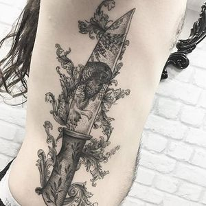 Knife tattoo by Sindy Brito. #SindyBrito #fineline #subtle #knife #blackwork