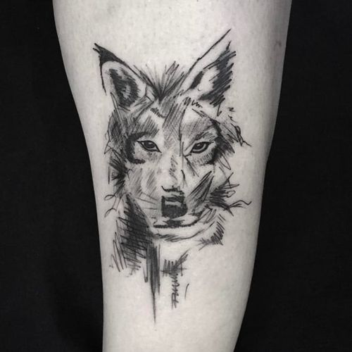 Wolf sketch tattoo by Mike Burns #losangelestattoo #wolf #sketch #sketchstyle #sketchy #MikeBurns