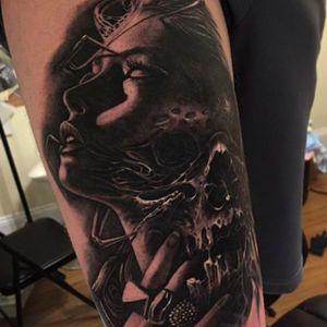Insane upper leg tattoo done by Brandon Herrera. #brandonherrera #darktattoos #btattooing #blackwork #portrait #woman