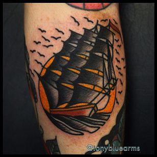 Ship Tattoo by Tony Nilsson #Ship #traditional #classictattoos #TonyNilsson
