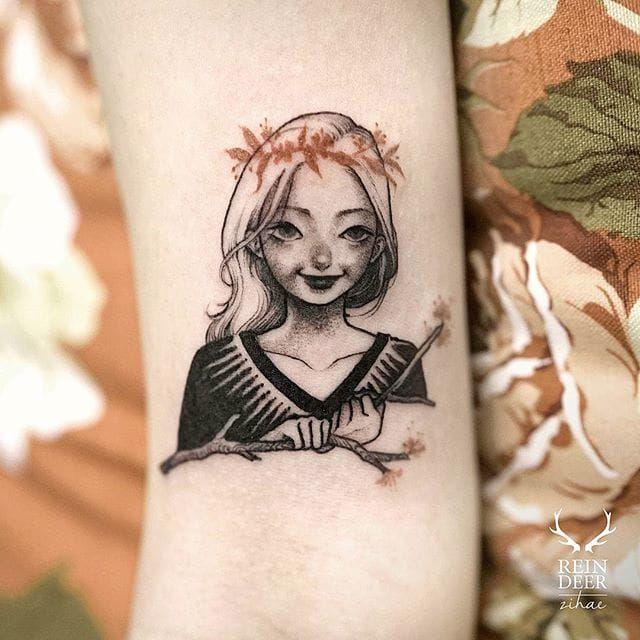 Whimsical little girl by Zihae (via IG- zihae_tattoo) #painterly #girlsgirlsgirls #zihae #illustrative