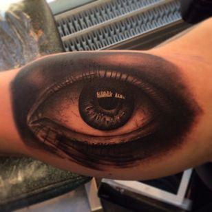 Black and grey realistic eye by Jonas Bødker. #blackandgrey #realism #JonasBødker #eye #eyeball
