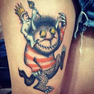 Max and one of the monsters by Emanuel Mawe Amador (IG—mawetattoos). #Caldetatts #childrensbooks #MauriceSendak #WheretheWildThingsAre