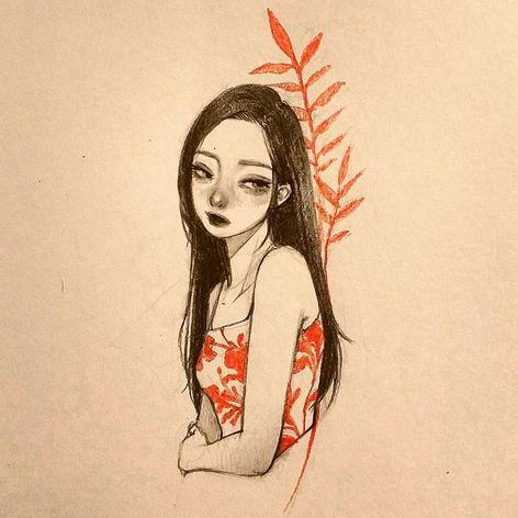 Delicate illustration by Zihae (via IG- zihae_tattoo) #painterly #girlsgirlsgirls #zihae #illustrative