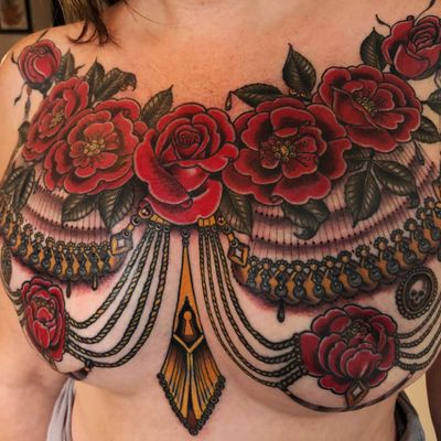 Rose mastectomy coverup by Rose Hardy #RoseHardy #newtraditional #color #jewelry #ornamental #skull #leaves #flower #rose #keyhole #dotwork #linework #pearls #rope #roses #teardrop #tattoooftheday