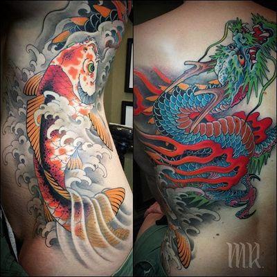 Dragon and koi by Mike Rubendall #MikeRubendall #color #japanese #koi #dragon #wave #flame #tattoooftheday