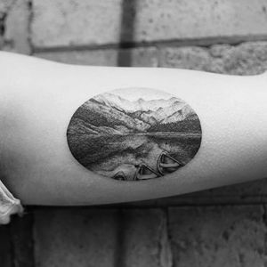 Nature Scene Tattoo by Balazs Bercsenyi @balazsbercsenyi #balazsbercsenyi #micro #nature #canoe #blackwork #dotwork #landscape