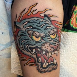 Traditional tiger by Gregory Whitehead #GregoryWhitehead #traditional #color #tiger #flame #tattoooftheday