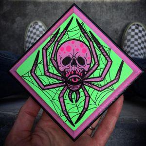 Neon spider skull art #ChristinaHock #art #neon #spider #skull
