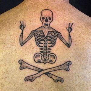 Fun skeleton tattoo by Adam Sage #handpoke #handpoked #dotwork #AdamSage #handcrafted #skeleton