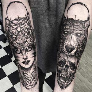 Blackwork by Fredão Oliveira #FredãoOliveira #blackwork #tiger #bear #cowl #skull #lady #tattoooftheday