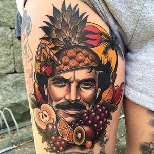 Fruity Tom Selleck tattoo by Fruduva #Fruduva #tomselleck #fruits
