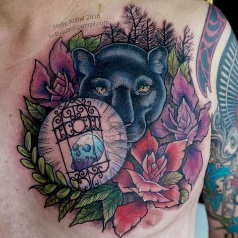 Beautiful tattoo by Holly Astral #flowers #panther #skull #flower
