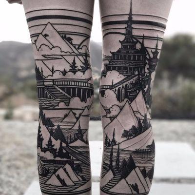 Legs of lines by Castlebasas #Castlebasas #thievesoftower #blackwork #linework #castle #pagoda #stairs #landscape #ocean #mountains #land #architecture #legsleeve #trees #boat #ship #world #city #tattoooftheday