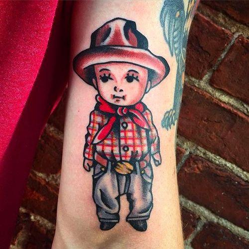 Little kewpie cowboy tattoo by Jacob N. #JacobN #traditionaltattoo #boldtattoo #oldschool #kewpie #cowboy #traditional