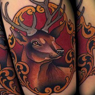 Noble stag tattoo #MyraBrodsky #neotraditonal #stag #animal