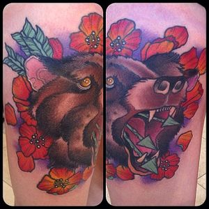 Neo Traditional Bear Tattoo by Shawn McClendon #NeoTraditionalBear #NeoTraditional #BearTattoos #BearTattoo #ShawnMcClendon #bear